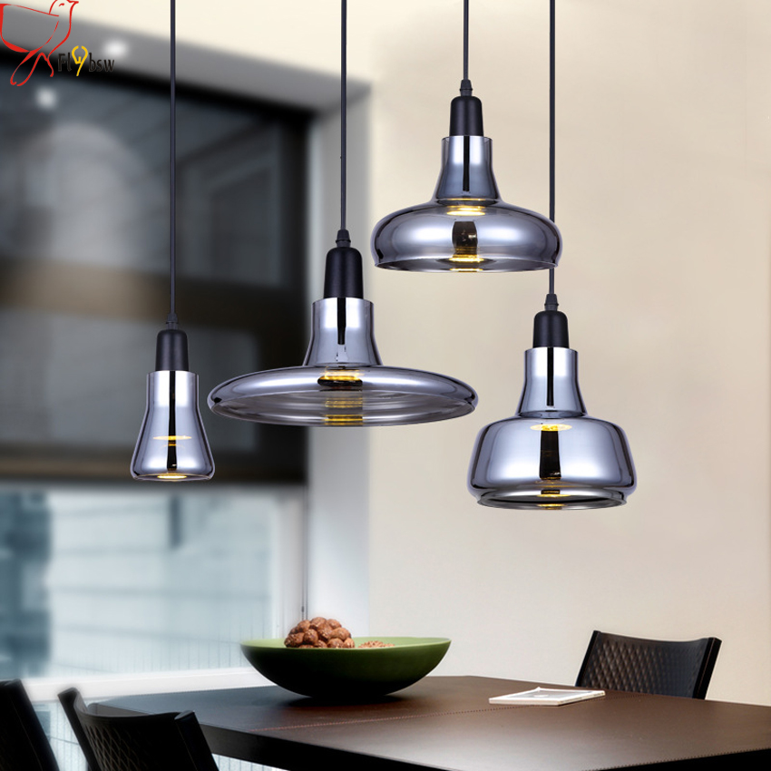 где купить European shadow glass pendant lamps 4 styles gray color glass lampshade modern hanging lamp for cafe restaurant bar deco light дешево