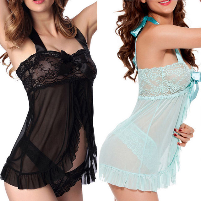 2017 Sexy Lingerie Sleepwear Lace Women's G-string Dress-Underwear Babydol Nightwear Sleepshirts
