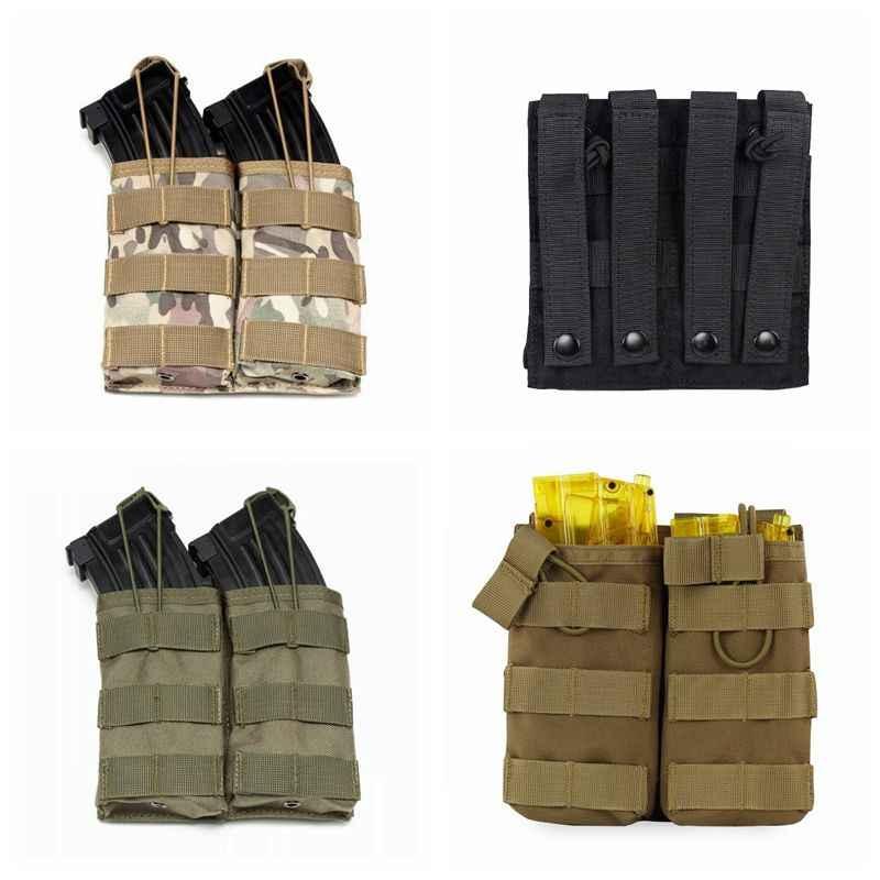 Hot Sale! Tas Taktis Single/Double/Triple Open-Top Majalah Kantong AK M4 Nilon Militer Cartridge Tas