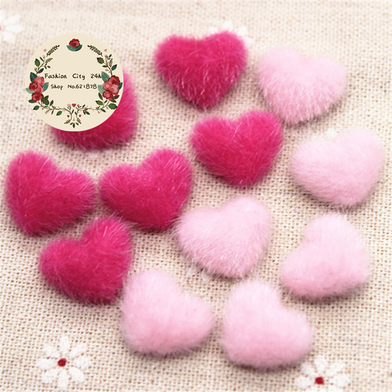 US $1 63 12% OFF|17mm 50pcs Pink/Hot Pink Hairy Velvet Fabric Covered Heart  Button Flatback DIY Decoration Buttons Scrapbooking,BK1030-in Buttons from