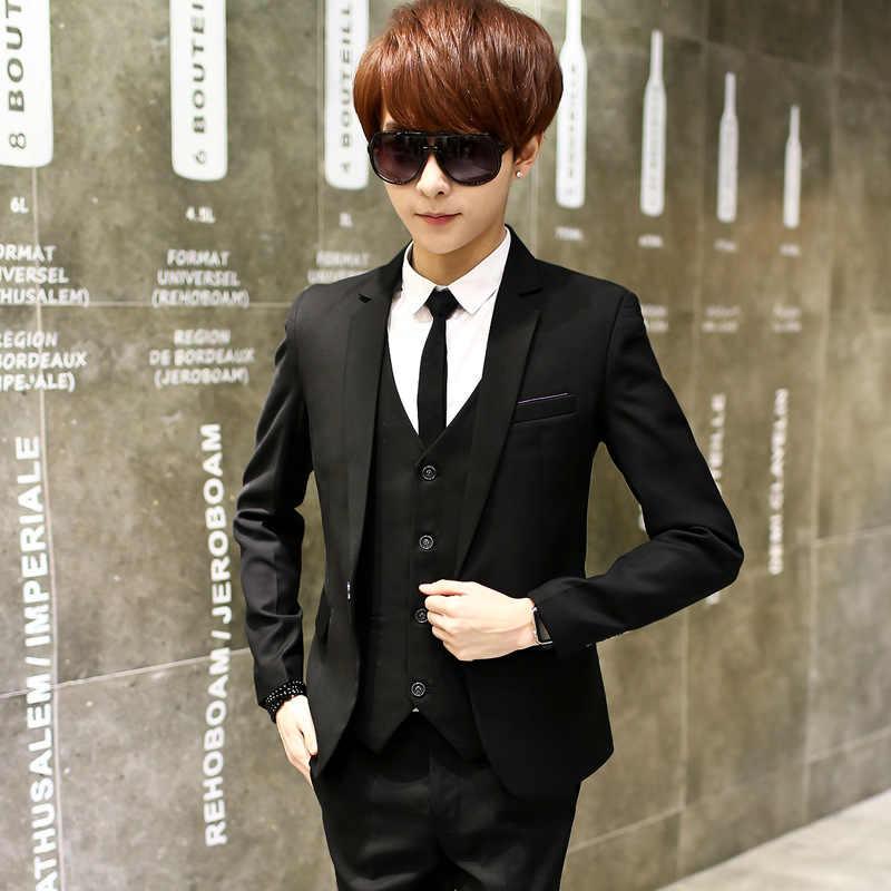 3 個ファッションメンズプラスサイズ黒付添人の結婚式パーティーバック分割カジュアルビジネススーツ 3 点セットスーツ男性のスーツセット B