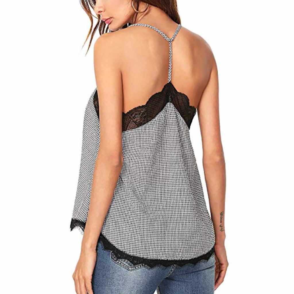 Модные Для женщин s женские короткий рукав футболка Летняя женская обувь в клетку; рубашка Для женщин кружева Повседневное Топы Футболка vestidos де Вера # G7