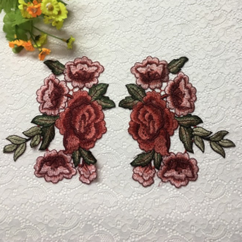 1 Pair Rose Flower Applique Badge Embroidered Iron//Sew on Floral Patch Dress Red