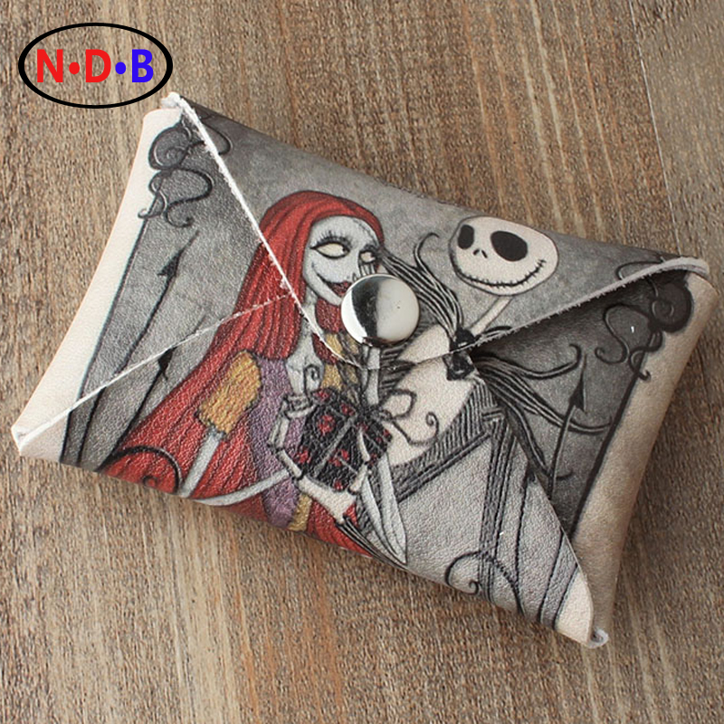 (Coin Purses)American cartoon Nightmare Before Christmas Jack and Sally purse Skull Pattern coin bag LQB1074