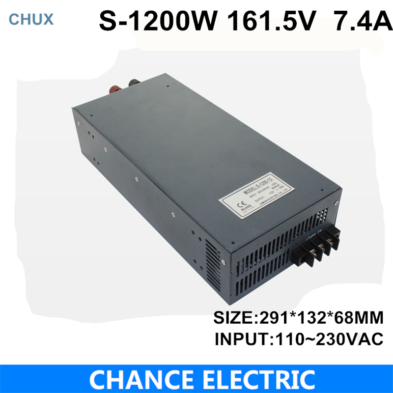 switching power supply 161.5V 7.4A 1200W 200~240VAC  single output input  for cnc cctv led light(S-1200W-161.5V) single output switching led power supply 18v 5 5a 100w ac100 240v to dc18v led driver adapter for led strips light cnc cctv