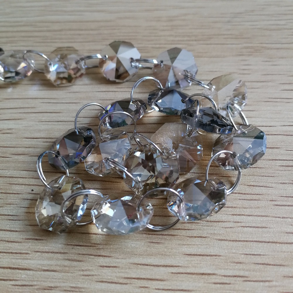 14mm Cognac Crystal Garland 5Meters Octagonal Glass Crystal Beads Strand Wedding Christmas Decor ...