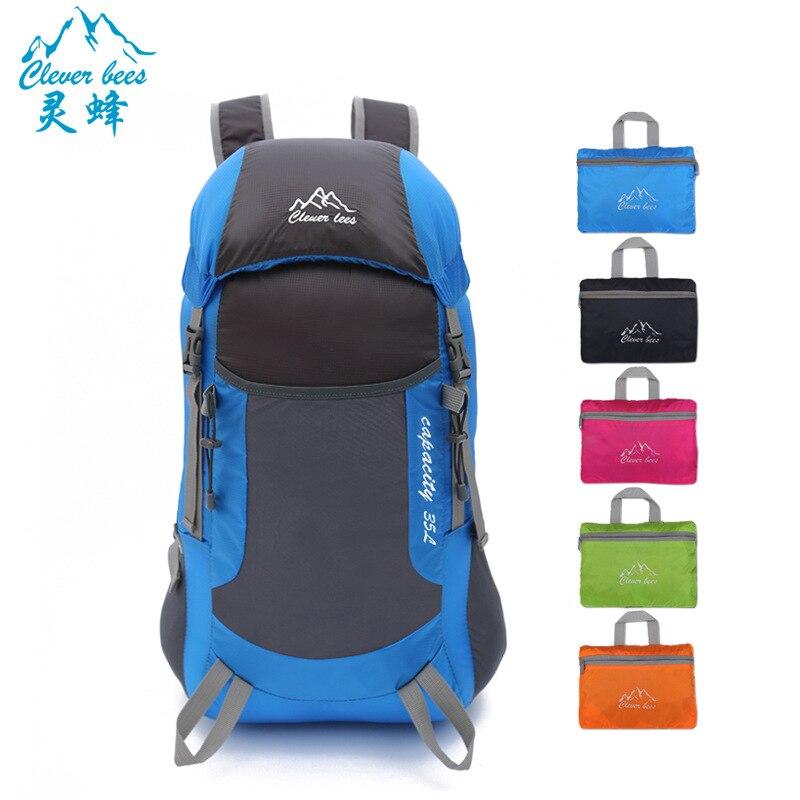 Cleverbees 2017 nova pele ultra light camping folding saco pacote de viagem saco de alpinismo Profissional mochila 35L portátil