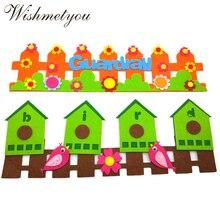 WISHMETYOU Cute Bird Guardrail Wall Stickers For Diy Kids Room Free Cutting Felting Grass Fence Decoration Kindergarten Crafts