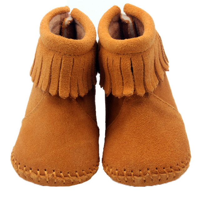 High Grade Genuine Leather Baby Snow Boots Wholesale Solid Color Tassel Infants First Walkers Brown Toddler Boy Girl Moccasins
