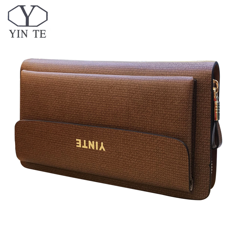 YINTE 2017 Fashion Mens Clutch Wallets Leather Men Purse High Quality Zipper Bags Business Handy Bags Passport Purse T018-5