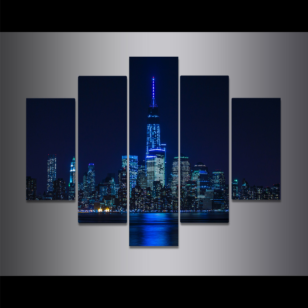 Unframed Canvas Painting Empire State Building Night View Light Picture Prints Wall Picture For Living Room Wall Art Decoration