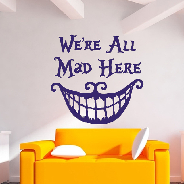 Wall Sticker Quote Cheshire Cat Sayings We Are All Mad Here Vinyl Decals Nursery Wall Sticker & Wall Sticker Quote Cheshire Cat Sayings We Are All Mad Here Vinyl ...