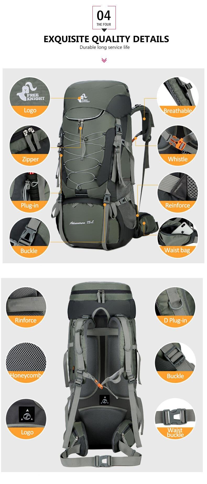 75l mochilas de acampamento caminhadas saco esporte