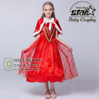 Top Quality Girls 3 12T Halloween Little Red Riding Hood Costume Masquerade Cosplay Dress With Red