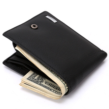 Brand Men Business Short Wallets Genuine Leather Soft Coin Purse Card Photo Holders Multi Pockets for Male Black wallet 208