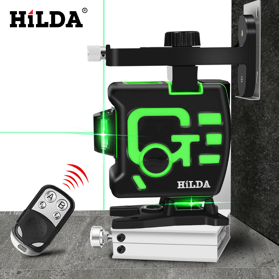 HILDA 3D Laser Level Self Leveling 360 Horizontal And Vertical Cross Green 12 Lines 3D Rotary