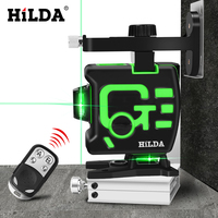 HILDA 3D Nível de Auto-Nivelamento A Laser 360 Linhas 12 Horizontal E Vertical Cruz Verde 3D Rotary Nível Laser Horizontal vertical