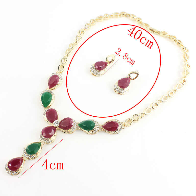 jiayijiaduo Turkish women wedding jewelry sets A variety of colors necklace earrings gold color Black water drop resin material