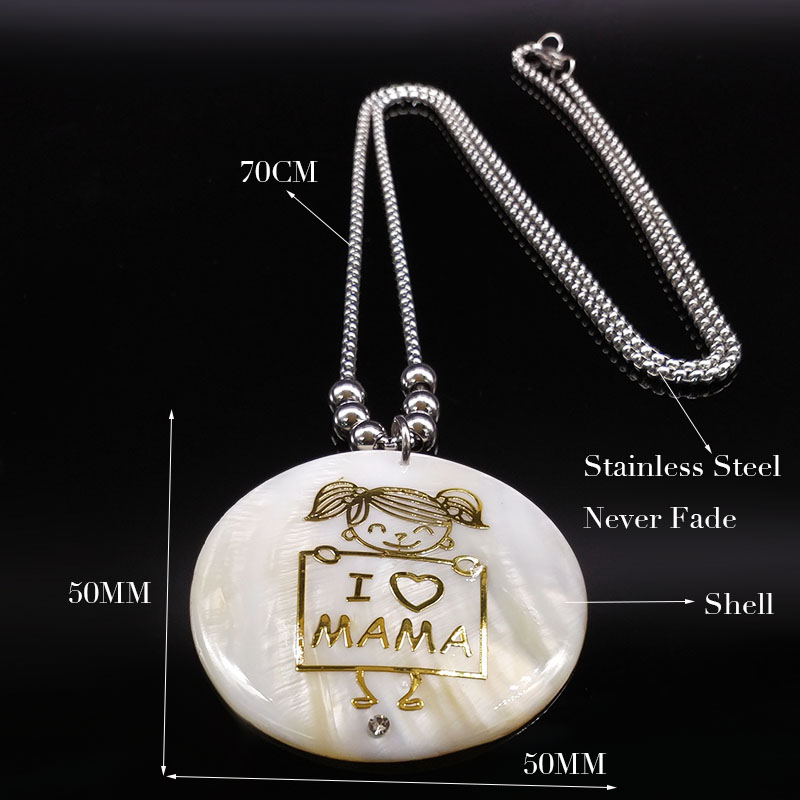 2018 I Love MAMA Stainless Steel Chain Necklace for Women Silver Color Big Long Shell Necklaces Jewelry collar mujer K77376B