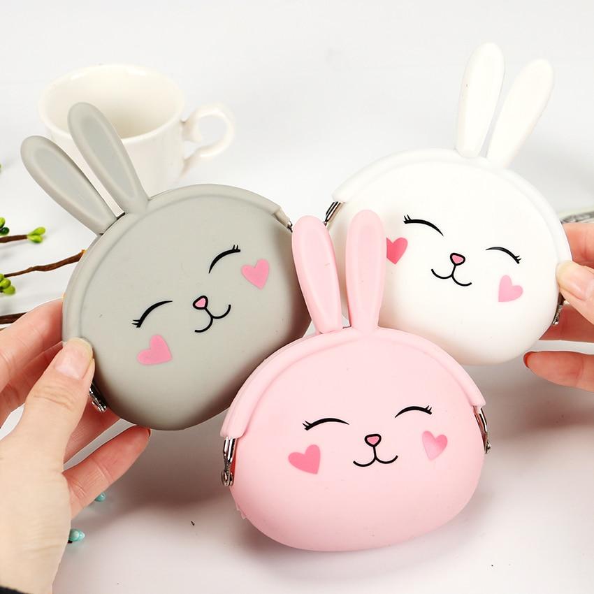 Kawaii Fashion Coin Purse Lovely Kawaii Cartoon Rabbit Pouch Women Girls Small Wallet Soft Silicone Coin Bag Kid Gift