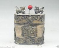 כסף טיבטי ישן סיני אוסף קופסא תכשיטי פניקס הדרקון kylin חרוז אדום