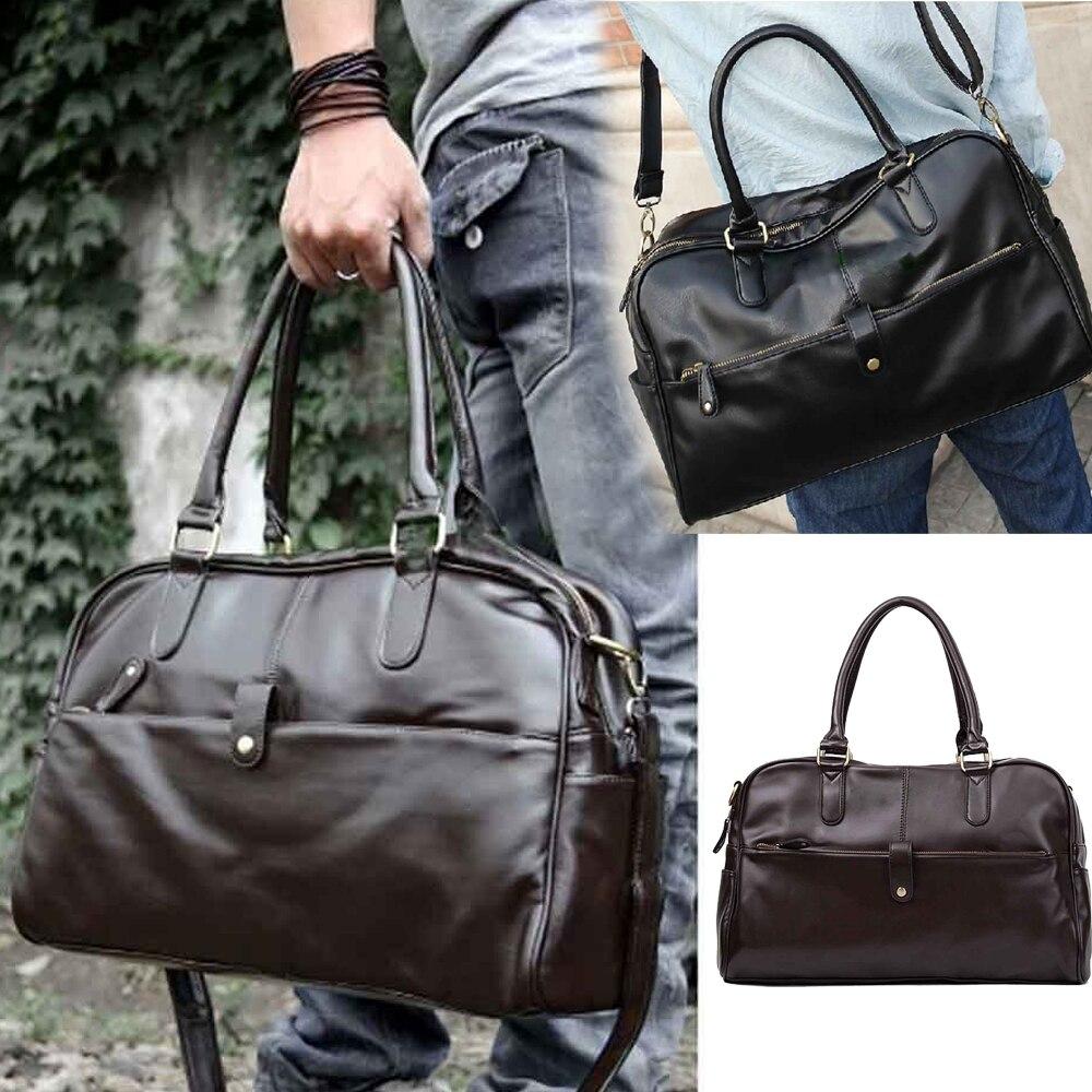 Hot Fashion Men Casual Faux Leather Handbag Shoulder Bag Duffle Tote Bags