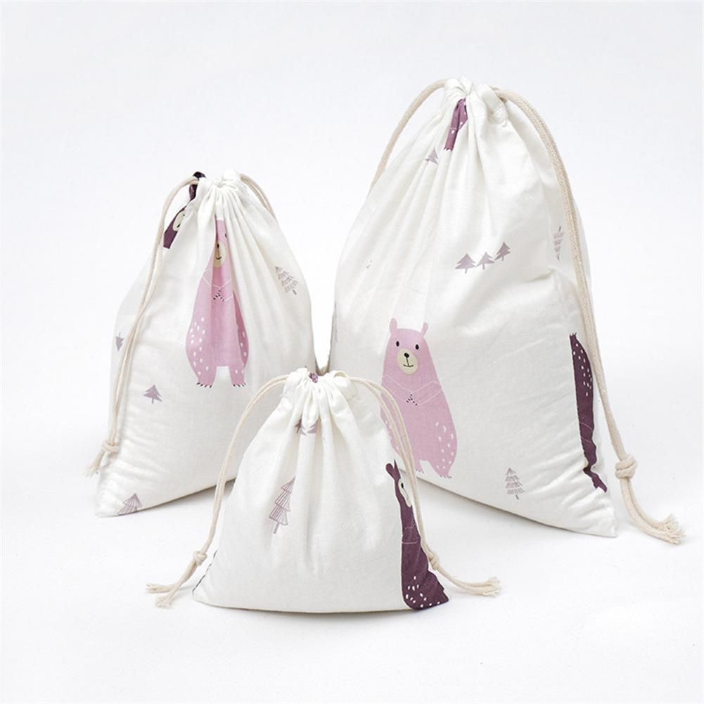 Fabric Gifts Bag Travel Drawstring Storage Bags Sundries Small White Rope Pouch