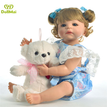 Full Silicone Reborn Baby Doll with Nice blue clothes Bebes Reborn menina boneca Newborn girl Babies paly house Dolls gift 55cm
