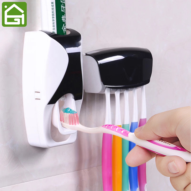 1 Set Creative Automatic Plastic Lazy Toothpaste Dispenser with 5 Toothbrush Holder