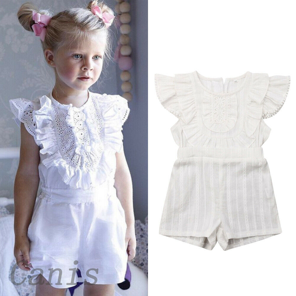 Toddler Baby Girls Floral Straps Off Shoulder Romper Playsuit Ruffles Clothes