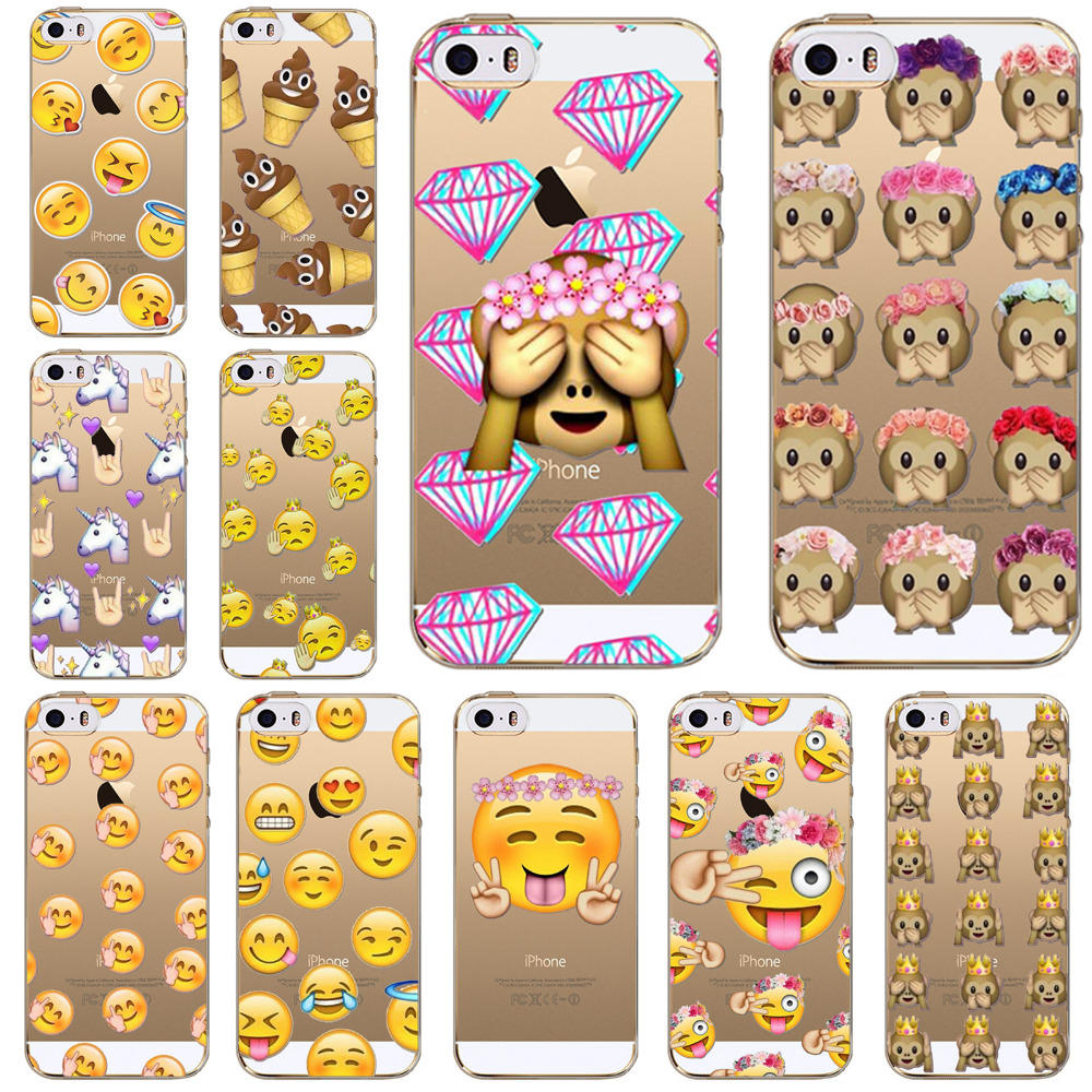 Phone Cases For iPhone 5 5S SE Fashion Transparent Soft Silicon TPU Cases Funny Emoji Smile Face Phone Cases Cover