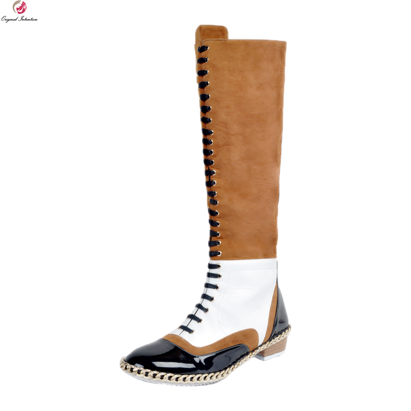 Original Intention New Fashion Women Knee High Boots Elegant Round Toe Square Heel Boots Multi Colors Shoes Woman Plus Size 4-15 2017 new women boots square toe fashion knee high boots motorcycle sexy thick high heel boots woman shoes black plus size 34 42