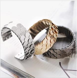 Hesiod Fish Scales Cuff Bangles Bracelet Punk Metal Women Men Charm Bracelets Mens Jewelry