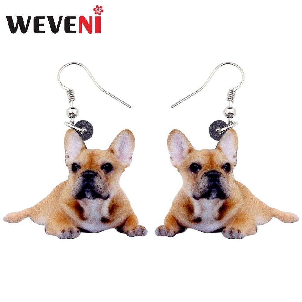 WEVENI Acrylic Lying French Bulldog Dog Earrings Big Long Dangle Drop Women Girl Ladies Fashion Cartoon Jewelry Bulk Gift Animal