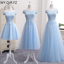 MNZ502L#embroidery blue lace up bridesmaid dresses new autum