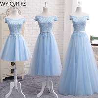 MNZ502L#embroidery blue lace up bridesmaid dresses new autumn winter 2019 short middle long sty prom dress girl plus size Custom