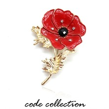 Classic Retro Poppy Flower Crystal Lapel Pins Brooch Commemorate Badge For Women Men Collar Clothes Suit Wedding Pins Gift