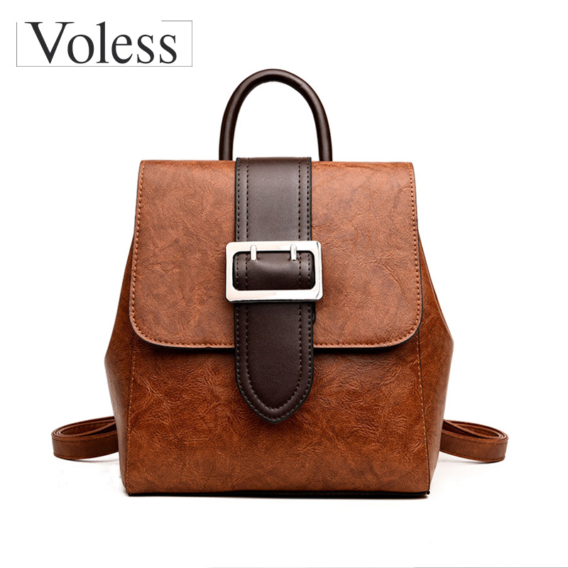 VOLESS Brand Vintage Women Backpack High Quality Genuine Leather Backpacks School Backpack For Teenager Female Bags 2018 New new brand high quality genuine leather women backpack female vintage backpacks casual bags fashion girls school bag bolsas