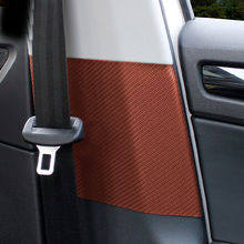 2pcs for SKODA KODIAQ Safety belt buckle Scratch Sound insulation carbon fibre pattern sticker