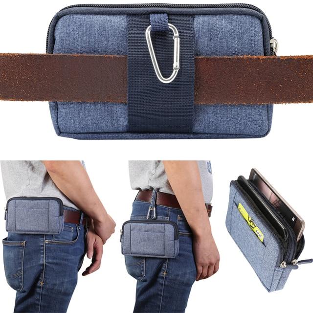 91bd02c56e5 Casual Mobile Pouch Phone Case Belt Clip Holster Nylon Zipper Men Waist Bag  Outdoor Gear Running