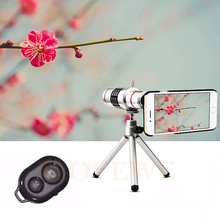 Best price HD Phone Lenses Kit 18x Zoom Telescope Telephoto Lens For Samsung S3 S4 S5 S6 S7 edge Plus Cases Tripod Bluetooth remote control