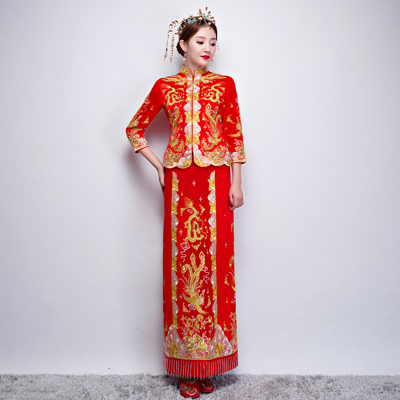 Dragon Gown Bride Wedding Dress Chinese Style Costume Phoenix
