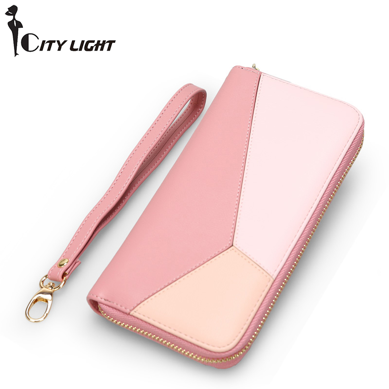 CITY LIGHT New Fashion Women Wallets PU Leather Zipper  Wallet Women's Long Design Purse Clutch Wrist Brand Mobile Bag 2016 new women wallets famous brand design pu leather wallet female zipper