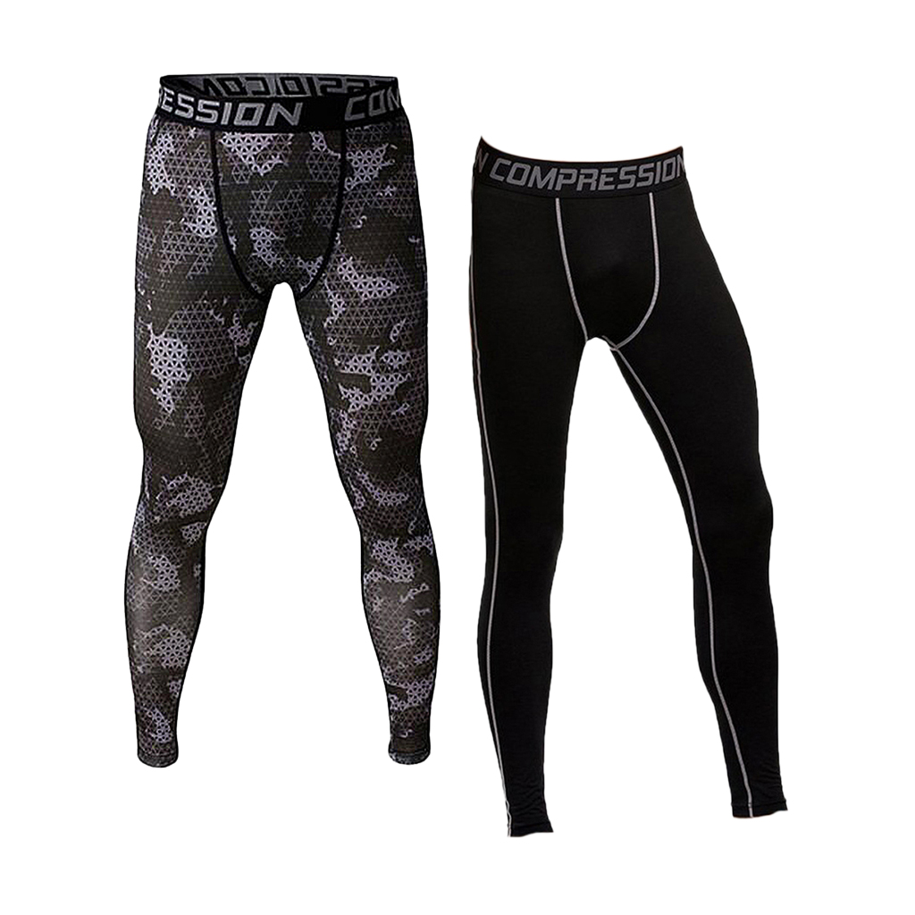 2/pack High Elasticity Legging Men's Stretch Pants Sport Running Trousers S