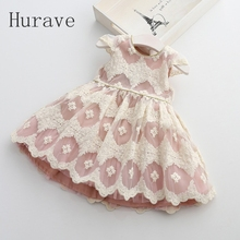Hurave 2017 New Spring Fashion Baby Girls Dresses Lace Embroidery Dress Princess children clothesGirl Party Dress