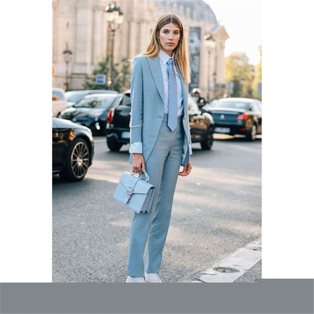 2019 Light Blue Women's Formal Wedding Tuxedo Suits Female Office Business Uniform Suits Women Custom Made 2 Pieces Suits