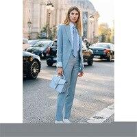2019 Light Blue Women's Formal Wedding Tuxedo Suits Female Office Business Uniform Suits Women Custom Made 2 Pieces Suits