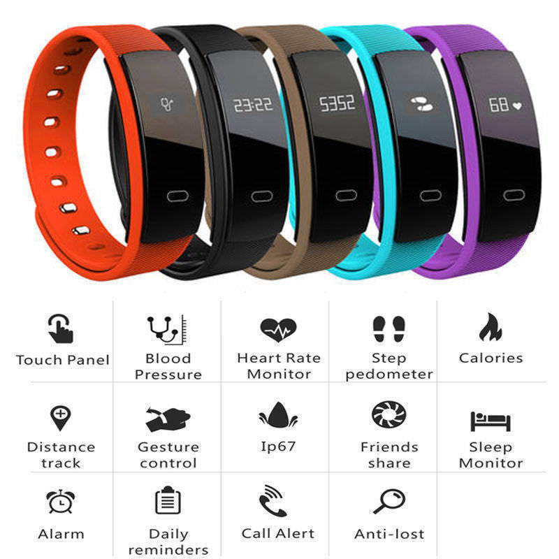 QS80 Wireless Smart Wristband Fitness Tracker Activity Trackers Blood Pressure Pedometer Heart Rate Monitor Sport Smart Watches