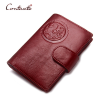 CONTACT S Men Wallet Genuine Women Leather Card Holder Coin Trifold Passport Cover Designer Female Purse