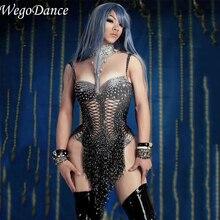 Sparkly Crystals Black Fringes Leotard Bling Stage Dance Per